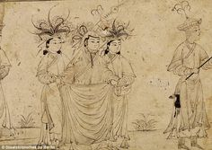 14 c., lady walking with her pages, Tabriz. (text immediately beneath picture is from original site, not me)