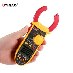 UYIGAO Brand New AC/DC Portable Handheld LCD Display Digital Clamp Meter with Test Lead Electronic Multimeter Voltage Current Resistance Temperature Frequency Tester