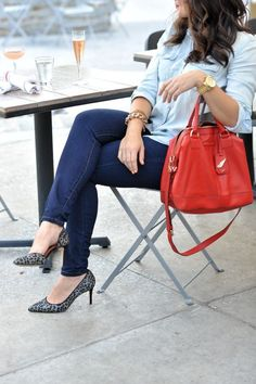 Denim on denim, fall outfits, chambray and jeans, red bag for Fall, leopard heels, date night outfit ideas, fall outfit ideas,