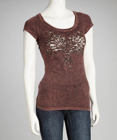 Take a look at this Maroon Embellished Tee by Katydid Collection on #zulily today!