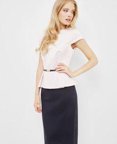 Colour block peplum dress