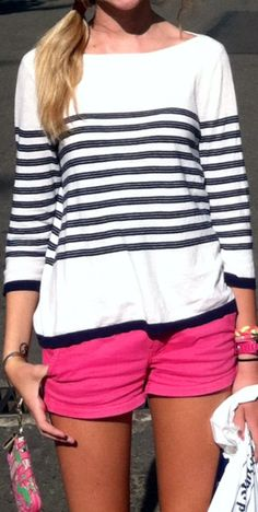 Wide collar stripes shirt and pink short Preppy Style, My Style, Sweet Style, Cute Fashion, Womens Fashion, Fashion 2014, Fashion Ideas, Summer Outfits, Cute Outfits