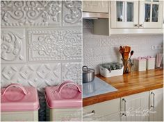 simply about home: Serce domu / Kitchen / Ceramic Tiles / Mint / Pink / White Kitchen