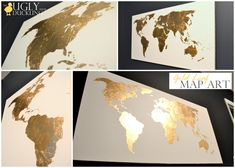 The Ugly Duckling House: Pinterest Challenge: Gilded Map Art (would personally use silver leaf, but the idea is awesome!)