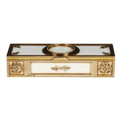 FABERGE White Guilloche Enamel Gold Mounted Stamp Box