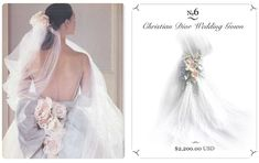 Number 6 is vintage Christian Dior wedding gown. It was featured in American Vogue. This amazing dress has a cathedral train of english tulle with cumberband.