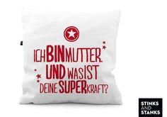 Kissen+Mutter+Superheldin+KS107+von+STINKSANDSTANKS+–+Dein+besonderes+Geschenk!+auf+DaWanda.com