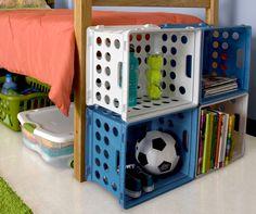 Sterilite stackable file crates are perfect for Dorm Room organization.