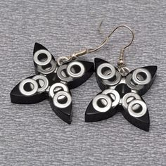 Black resin earrings with metal circles  steam punk by PikLus, $15.00
