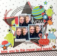 Love You to the Moon and Back - Crate Paper - Little You Collection Perfect + BasicGrey - Origins Collection Double Sided Paper - Authentic Scrapbook Layout Sketches, Scrapbooking Layouts, Kids Scrapbook, Scrapbook Pages, Disney Rides, We R Memory Keepers, Red Paper, Crate Paper, Fun Challenges