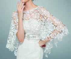 Wedding New Top lace tulle bridal shawl wrap stole shrug bolero jacket Ivory