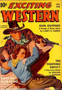 Exciting Western magazine pulp cover art, man cowboy woman dame cowgirl pistol gun revolver shooting rescue cliff rope cliffhanger danger