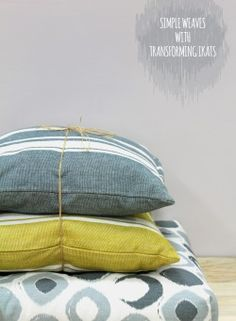 Our Basic weaves paired in subtle colors with the accent Ikat floor cushion!