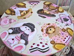 Custom Teddy Bear and Bunny Tea party Table and Chair Set.