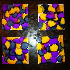 Alcohol ink coasters! I just made these. Ceramic tile wiped with alcohol and then painted with alcohol paint and sealed with aerosol finisher.