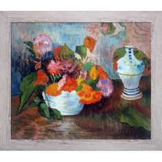 La Pastiche Paul Gauguin 'The Vase of Nasturtiums 1886' Hand Painted Framed Art