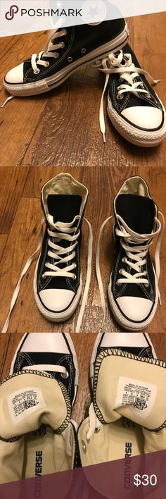 Converse all star chuck Taylor high tops black Practically brand new I only worn it once and it's been sitting in my closet since then. They are women's size 6 men's size 4. Completely nothing wrong with them.   *NO TRADES Converse Other