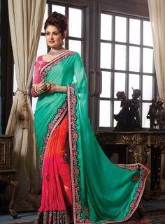 Pink & Green latest designer half saree with blouse G15291