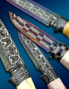 Pattern welded Damascus steel knives