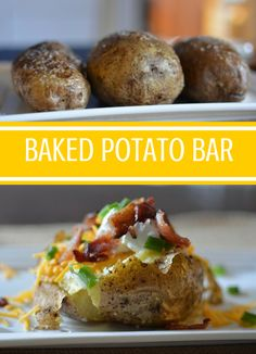 Make family mealtime fun by setting up a Baked Potato Bar for a weeknight meal or even for a party. With a make your own baked potato bar people can pick their toppings. Includes a list of popular baked potato bar topping ideas.