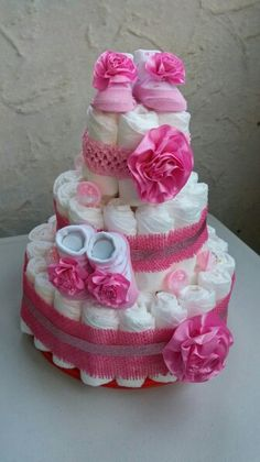 Diaper cake for twin girls