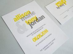 Printable Wedding Invitation, Bold Wedding Invite, Yellow and Grey, Printable