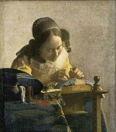 La Encajera. Jan Vermeer (1632-1675)  Pintura emblemática del maestro holandés, destaca el tratamiento de la luz y la perfección en los detalles. De Vermeer también está expuesto en el Louvre El astrónomo y ambos muestran la calidez de los interiores burgueses del siglo XVI