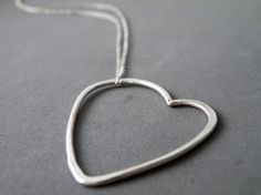 Sweet Romantic Heart Necklace Sterling Silver Minimalist Necklace Outlined Pendant by SteamyLab