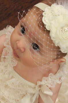Baby Baptism Headband .. Shabby Chic ..   Vintage Christening Headband .. Birdcage Veil .. Shabby Roses Pearls on Etsy, $18.00
