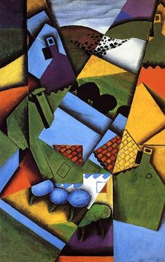 """""""Paisaje y Casas de Céret"""" (Landscape with houses at Ceret, by Juan Gris. Style: Synthetic Cubism (Juan Gris was the 'Third Musketeer of Cubism', with Pablo Picasso and Georges Braque) Art Works, Cubism Art, Ceret, Painting, Art, Art Movement, Canvas Art, Abstract, Posters Art Prints"""