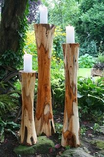 Kerzenständer Eibe 3er-Arrangement, Höhen: 60/90/05 cm, Durchmesser bis 20 cm.