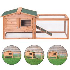 Wooden Rabbit Chicken Coop Poultry Cage Material: Fir wood Overall dimensions: x x (L x W x H) Wooden door size: x (L x W) Iron mesh door size: x (L x W) Tray size: x (L x W) Product weight: 30 lbs Material: Chinese fir Product weight: lbs