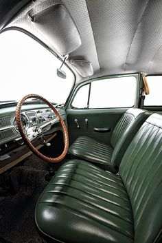 Volkswagen 1 11 limousine de luxo pele tweed insets help beat the sticky summer bums created by the traditional full vinyl seat good idea Volkswagen Karmann Ghia, Volkswagen Transporter, Beetles Volkswagen, Volkswagen Bus, Vw Camper, Vw Variant, Kdf Wagen, Vw T, Vw Vintage