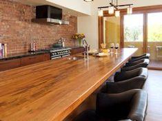 Mesquite edge grain custom wood island countertop.