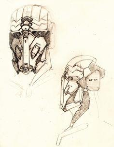 Robot head sketch by Lapo Roccella on ArtStation.