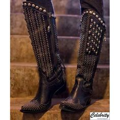 """Killa Biker Boots    Double D Ranch Boots   FALL 2012 Collection  Killa Biker Boots  Style: DD9006  Designed by: Double D Ranch  Made by: Lane Boots  Content: Black Leather, Tiny Skulls on Brash, Side Zipper, Lace Up Back, 15"""" Shaft, 1 1/2 Heel  Size: 5, 5 1/2, 6, 6 1/2, 7, 7 1/2, 8, 8 1/2, 9, 9 1/2, 10, 10 1/2, 11  C..."""