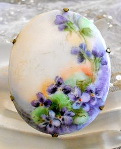 Victorian Hand Painted Oval Porcelain Pendant With Violets
