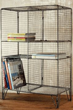 Wire book case.