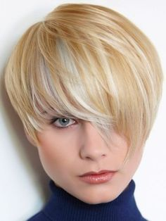 Cute Short Haircut with Long Bangs - Chic Hairstyles for Thin Hair. Love this color technique.