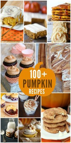 100+ Pumpkin Recipes! If you love pumpkin, you'll love this delicious collection of cookies, cupcakes, shakes, bars,& breads!