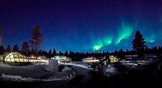 Glass igloos in Kakslauttanen Arctic Resort. Location Saariselkä, Lapland Finland.