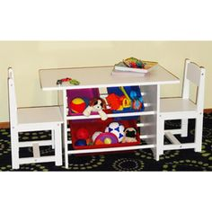 FOR DAUGHTER'S BEDROOM - RiverRidge Kids - Activity Table and Chair Set with Storage Bins - White - $100.  http://www.walmart.com/ip/RiverRidge-Kids-Activity-Table-and-Chair-Set-with-Storage-Bins/14895628