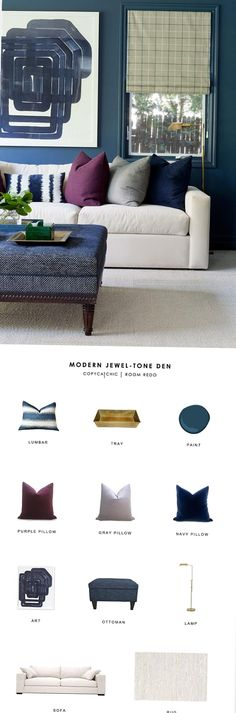 A jeweltoned modern living room by Jenn Feldman Designs gets recreated for less by copycatchic luxe living for less budget home decor and design Good Living Room Colors, Living Room White, Living Room Paint, Rugs In Living Room, Jewel Tone Living Room Decor, Jewel Tone Decor, Small Room Design, Family Room Design, Family Den