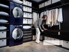 That is genius!  Can you imagine how quick clothes would get washed, folded and organized if it was all right in your closet??...Your FABULOUS closet!!!