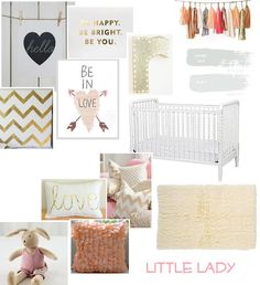 Golds, black and peach, pink combo twin girl. Gray walls and cribs x2.