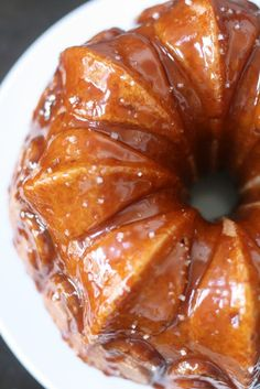 Toffee Vanilla Bean Bundt Cake with Caramel Sauce and Sea Salt