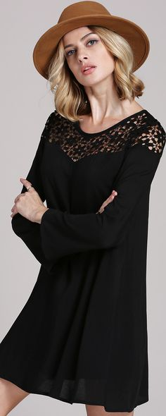 This is what we call spring essential. The Basic Dress is made in a black and features long sleeves, round button neck and lace at breast. Check more info with amazing price at m.shein.com