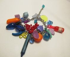 Colorful Plastic Charm Bracelet with Vintage Plastic Charms on Silver-Plated Chain with Extender by chaosintoartdotcom, $15.00