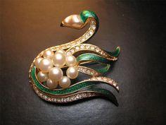 Elegant Vintage CINER Swan Pin Brooch Pearl by VintageGirlStuff, $125.00 on Etsy