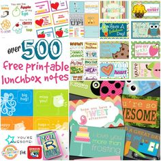 over 500 free printable lunch box notes featured on the kids activities blog